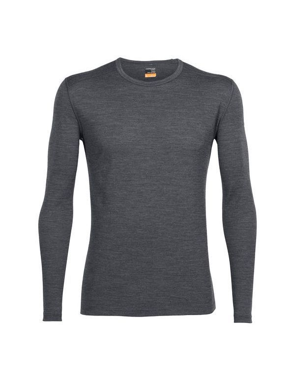 ICEBREAKER MEN'S OASIS LONG SLEEVE CREWE GRITSTONE
