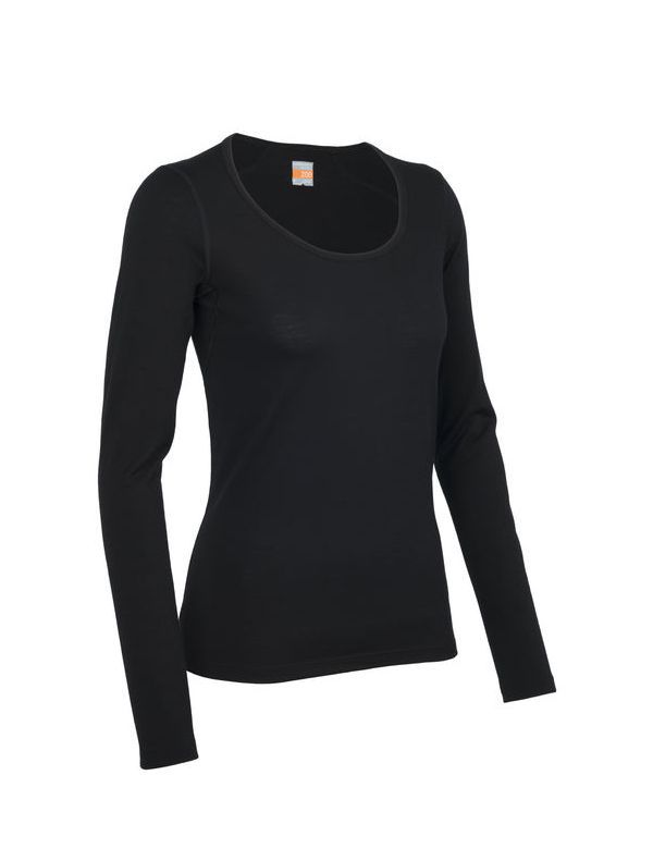 ICEBREAKER WOMEN'S OASIS LONG SLEEVE SCOOP BLACK