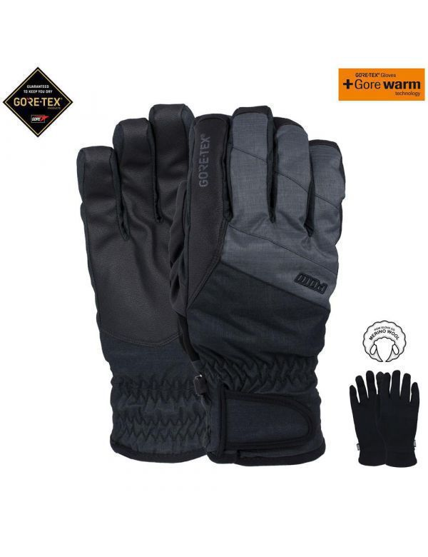 POW WARNER GORE-TEX® SHORT GLOVE Black + Liner