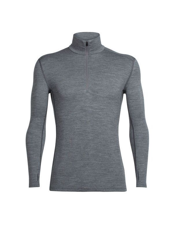 ICEBREAKER MEN'S TECH TOP LONG SLEEVE HALF ZIP GRITSTONE